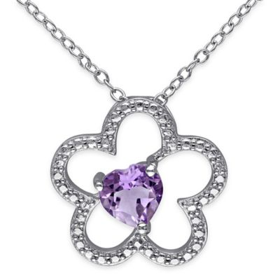 Sterling Silver Heart-Shaped Amethyst 18-Inch Chain Flower Silhouette Pendant Necklace