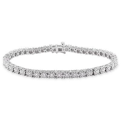 Sterling Silver .25 cttw Diamond 7-Inch Tennis Bracelet