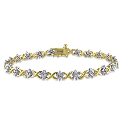 Yellow Flash Plated and White Sterling Silver 1.0 cttw Diamond 7.25-Inch XOXO Bracelet