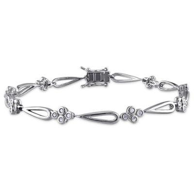 Sterling Silver .54 cttw Diamond 7-1/4 Inch Flower and Tear Drop Link Bracelet