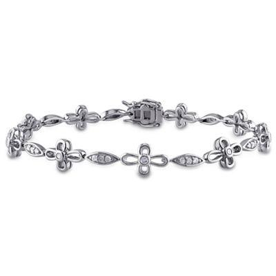 Sterling Silver .50 cttw Diamond 7-1/4 Inch Flower and Leaf Link Bracelet