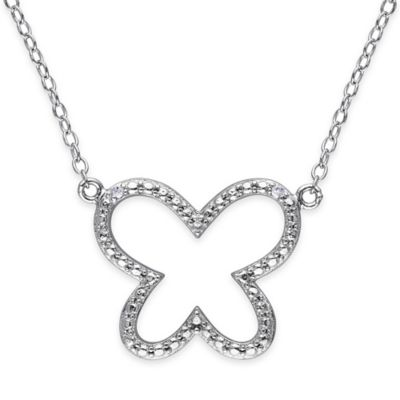 Sterling Silver .01 cttw Diamond 18-Inch Chain Open Butterfly Pendant Necklace