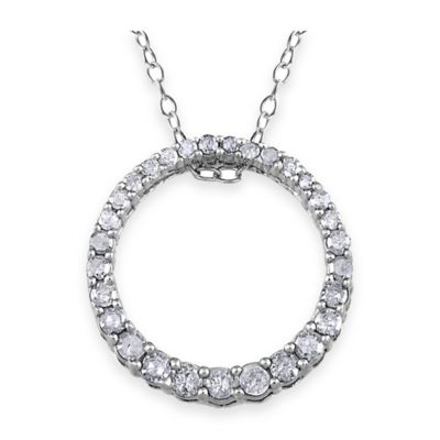 Sterling Silver .33 cttw Diamond 18-Inch Chain Circle of Life Pendant Necklace