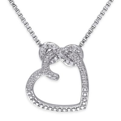 Sterling Silver .05 cttw Diamond 18-Inch Chain Infinity Heart Pendant Necklace