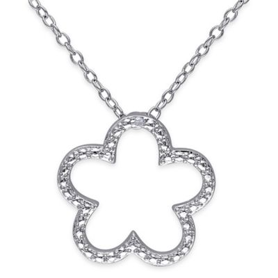Sterling Silver .01 cttw Diamond 18-Inch Chain Flower Pendant Necklace