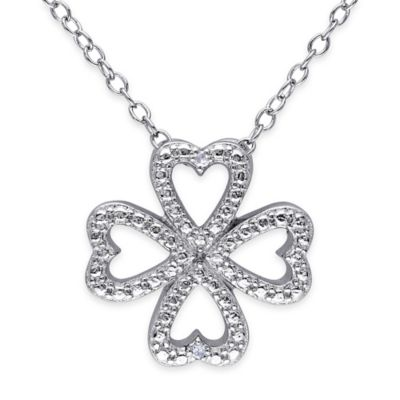 Sterling Silver .01 cttw Diamond 18-Inch Chain Four Leaf Clover Pendant Necklace