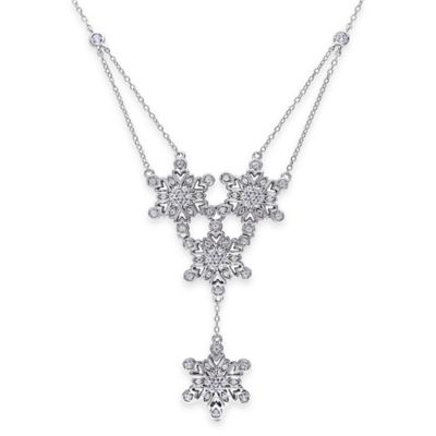 Sterling Silver 1.33 cttw Lab-Created White Sapphire 18-Inch Chain Snowflake Dangle Pendant Necklace