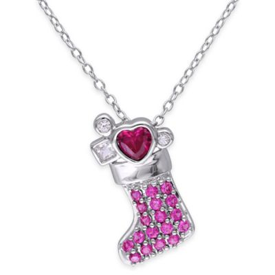 Sterling Silver .75 cttw Created-White Sapphire and Created-Ruby Christmas Stocking Pendant Necklace