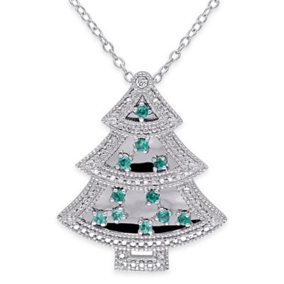 Sterling Silver .18 cttw Diamond, Created-White Sapphire, Created-Emerald Tree Pendant Necklace