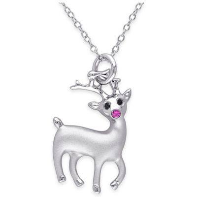 Sterling Silver .04 cttw Black Diamond and Created-Ruby Reindeer Pendant Necklace