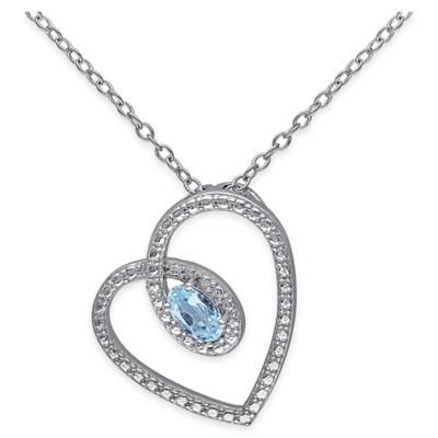 Sterling Silver Oval Blue Topaz 18-Inch Chain Heart Silhouette Pendant Necklace
