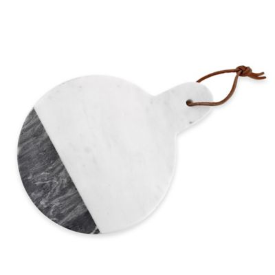 Artisanal Kitchen Supply™ Two-Tone Round Marble Cheese Board with Handle