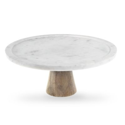 Artisanal Kitchen Supply™ White Marble and Wood Cake Stand