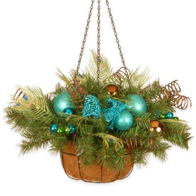 National Tree 22-Inch Decorative Collection Peacock Hanging Basket