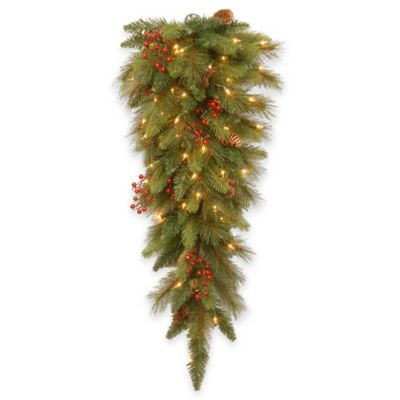 National Tree Company 36-Inch Long Needle Pine Cone Teardrop with Clear Lights