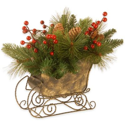 National Tree 10-Inch Needle Pine Cone Sleigh