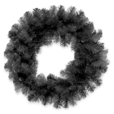 National Tree 24-Inch Wreath in Black Tinsel