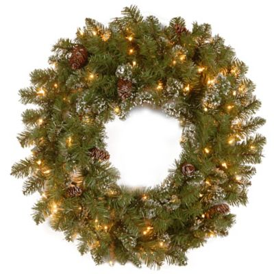National Tree Crystal Pine 30-Inch Pre-Lit Wreath with Clear Lights