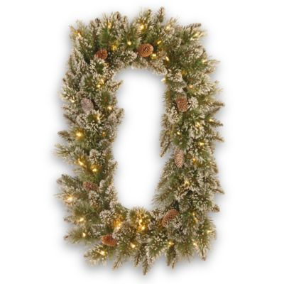 National Tree Company 36-Inch Glittery Bristle Pine Pre-Lit Rectangular Wreath with White Lights