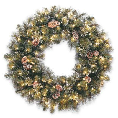 National Tree Glittery Pine 30-Inch Pre-Lit Wreath with Clear Lights
