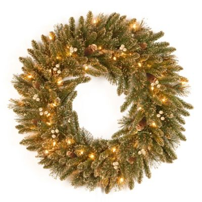 National Tree Glittery Pine Gold 30-Inch Pre-Lit Wreath with Clear Lights
