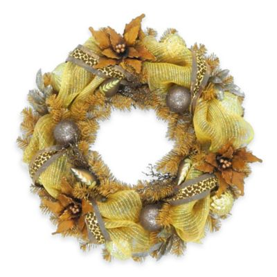 National Tree 30-Inch Harvest Collection Brown Ribbon Wreath