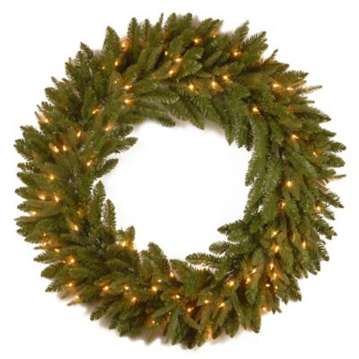 "National Tree Fraser Grande ""Feel-Real®"" 36-Inch Pre-Lit Wreath with Clear Lights"