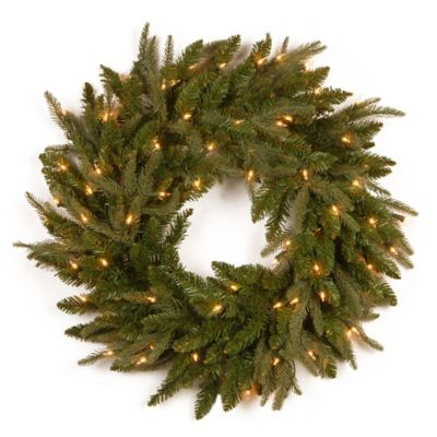 "National Tree Fraser Grande ""Feel-Real®"" 24-Inch Pre-Lit Wreath with Clear Lights"
