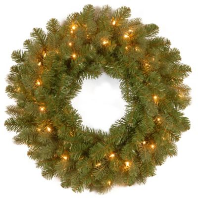 "National Tree Down-Swept Douglas Fir ""Feel-Real®"" 26-Inch Lit Wreath with Warm White LED Lights"