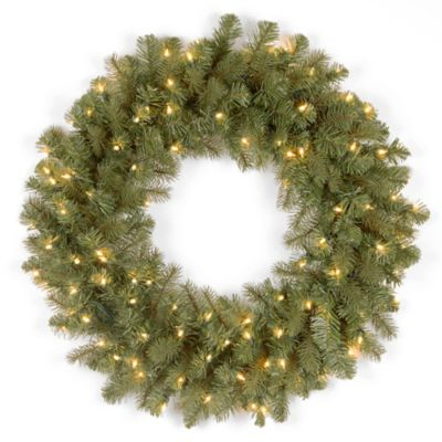 "National Tree Down-Swept Douglas Fir ""Feel-Real ®"" 26-Inch Pre-Lit Wreath with Clear Lights"