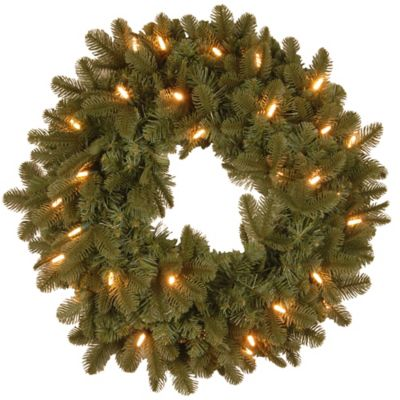 "National Tree Noble Fir ""Feel-Real®"" 24-Inch Pre-Lit Wreath with Soft White LED Lights"
