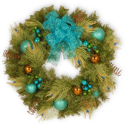 National Tree Company Decorative Collection 24-Inch Peacock Christmas Wreath