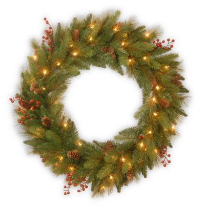 National Tree Company 30-Inch Pre-Lit Feel-Real® Long Needle Pinecone Wreath