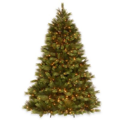 "National Tree 7.5-Foot Pre-Lit ""Feel-Real"" White Pine Hinged Tree with Clear Lights"