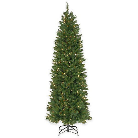 national tree 7 5 foot pre lit pennington fir hinged pencil christmas tree bed bath beyond. Black Bedroom Furniture Sets. Home Design Ideas