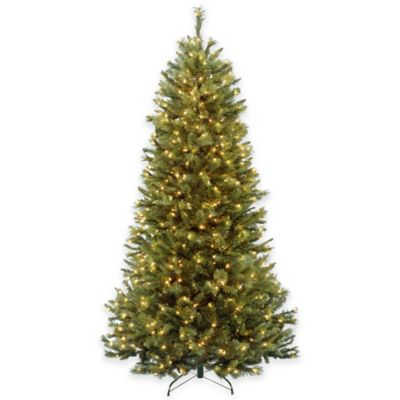 National Tree 7-Foot Pre-Lit Rocky Ridge Slim Pine Hinged Christmas Tree