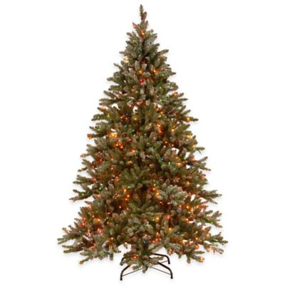 National Tree 9-Foot Pre-Lit Snowy Concolor Fir Hinged Christmas Tree with Multicolor Lights