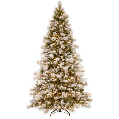National Tree 7.5-Foot Snowy Westwood Pine Pre-Lit Hinged Christmas Tree with Clear Lights