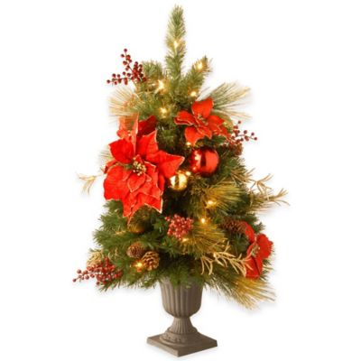 National Tree Decorative Collection pre-Lit 3-Foot Home Spun Entrance Tree in Red/Gold