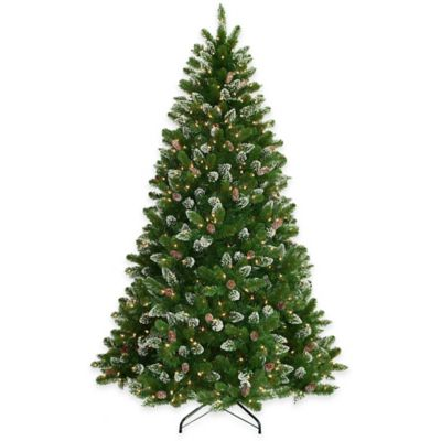 National Tree 7.5-Foot Pre-Lit Crystal Spruce Tree with Glitter and Pine Cones