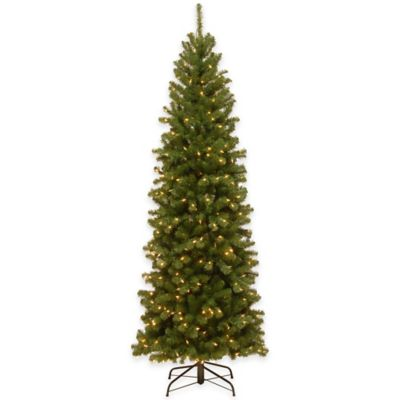 National Tree 7.5-Foot North Valley Spruce Pre-Lit Slim Hinged Christmas Tree with Clear Lights