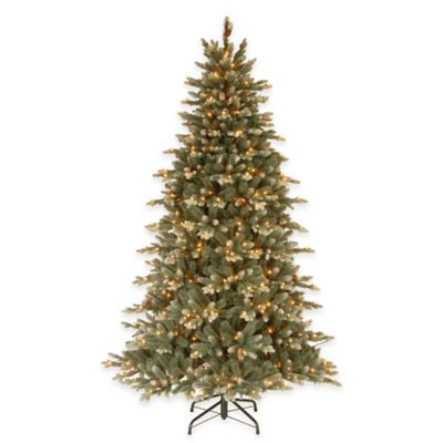 National Tree 7.5-Foot Copenhagen Spruce Pre-Lit Hinged Christmas Tree with Flocked Pinecones