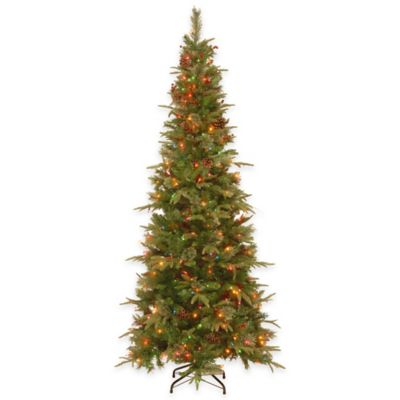 "National Tree 7-Foot Colonial Slim ""Feel-Real"" Pre-Lit Hinged Christmas Tree with Multi Lights"