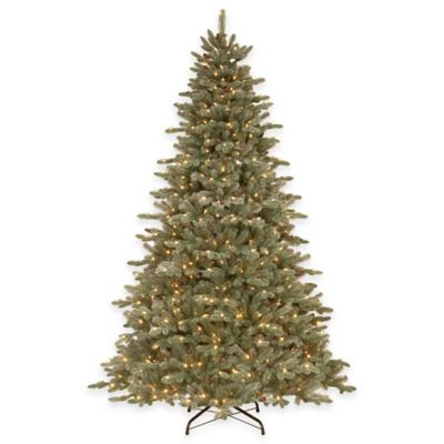 National Tree Company 7.5-Foot Feel-Real Frosted Dover Blue Pre-Lit Spruce Tree with Clear Lights