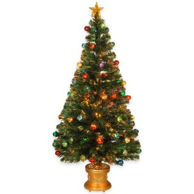 National Tree 5-Foot Fiberoptic Evergreen Tree with Illuminated Ornaments and Star