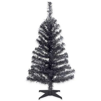 National Tree 3-Foot Black Tinsel Christmas Tree