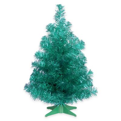 National Tree Company 2-Foot Turquoise Tinsel Christmas Tree with Plastic Stand