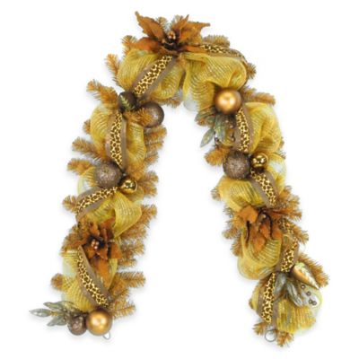 National Tree Harvest Collection Brown Ribbon 6-Foot Garland
