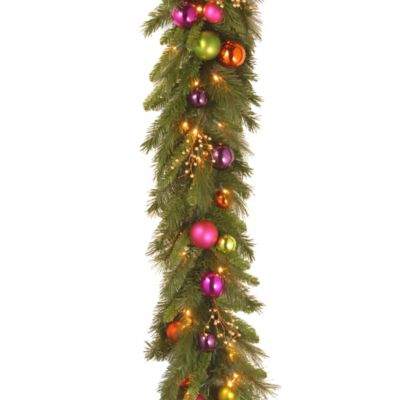 National Tree Kaliedoscope 6-Foot Garland with Colorful Ornaments and Clear LED Lights