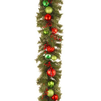 National Tree Decorative Collection 6-Foot Garland with Berries and Red and Green Ball Ornaments